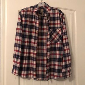 Soft red and navy flannel